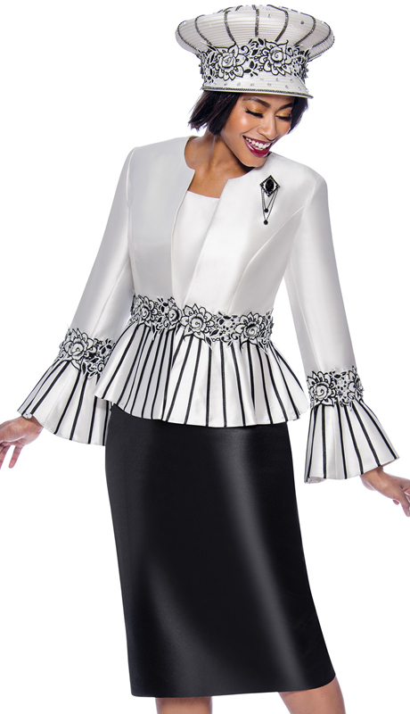Terramina 7819-BW ( 3pc Womens Church Suit Featuring Striped Peplum Bell Cuff Jacket )