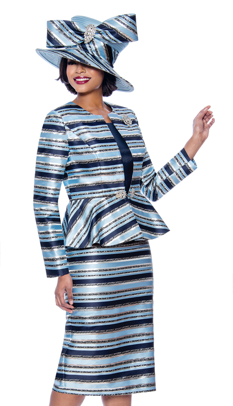 Terramina 7820-BL ( 3pc Womens Striped Church Suit With Peplum Jacket )