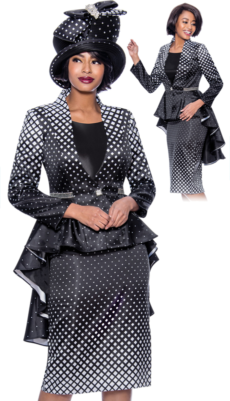 Terramina 7824-BW ( 3pc Novelty Diamond Grid Pattern Design Church Suit With Extended Peplum Jacket )