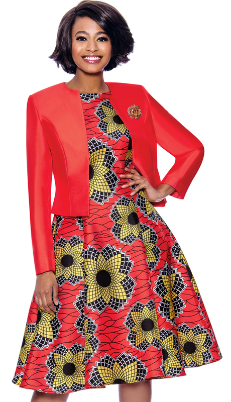 Terramina 7825-RE ( 2pc Spyrographic Floral Print Dress With Solid Silk Look Jacket )