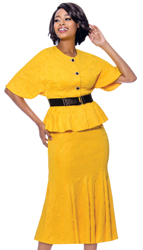 Terramina 7831 -SF ( 2pc Textured Fabric Womens Flared Skirt Suit With Belted Peplum Jacket )