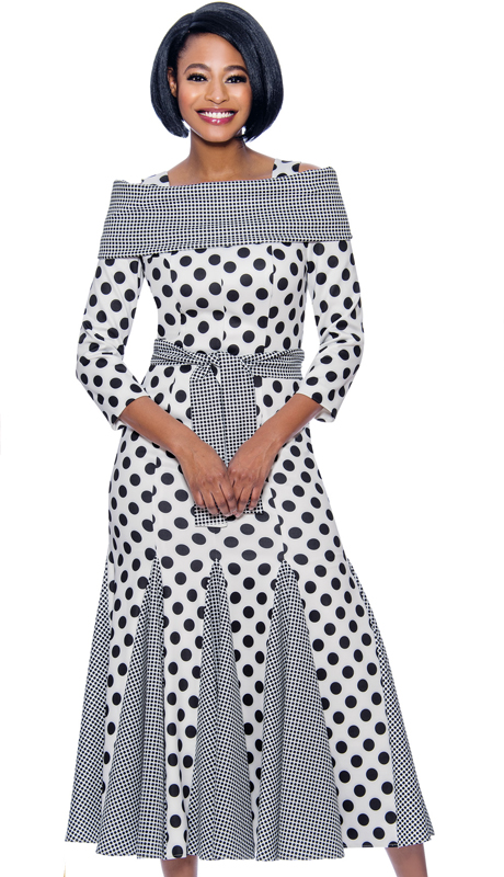 Terramina 7832-WB-CO ( 1pc Novelty Polka Dot Print Godet Pleated Dress With Off Shoulder Portrait Collar And Sash )