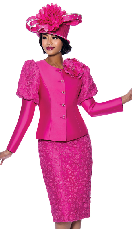 Terramina 7834-FU ( 2pc  Floral Textured Fabric Skirt Suit With Upper Puff Sleeve Jacket )