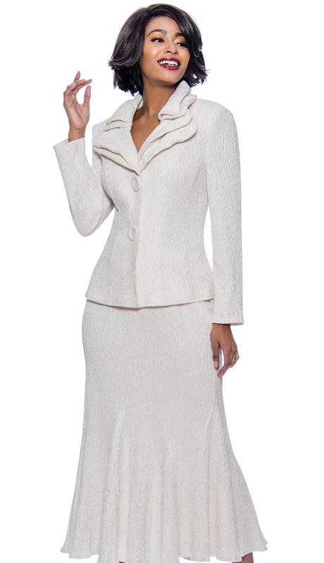 Terramina 7656-WH-CO ( 2pc Knit Womens Church Suit Made In Weaved Novelty Fabric Featuring Layered Collar With Flared Skirt Hem )
