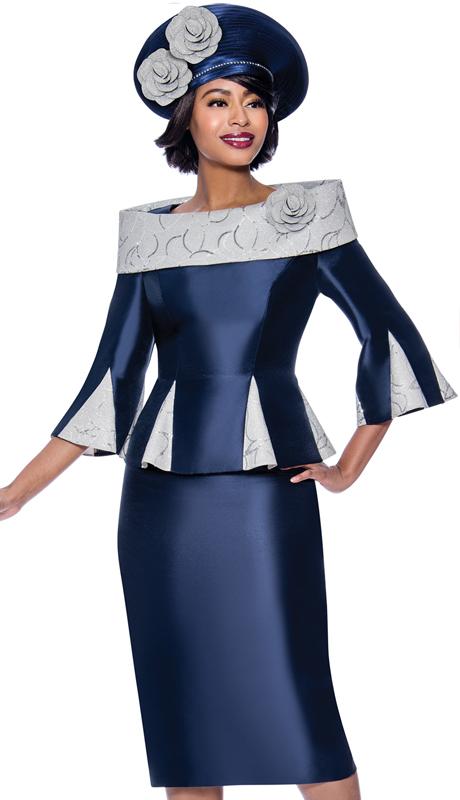 Terramina 7837-NA ( 2pc Silk Look Womens Church Skirt Suit With Godet Pleated Portrait Collar Jacket )