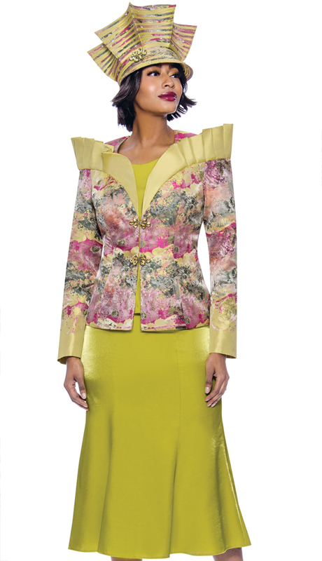 Terramina 7839-PR ( 3pc Novelty Over Shoulder Stand-Up Ruffle Collar Multi Color Print Jacket With Solid Flared Skirt And Cami )