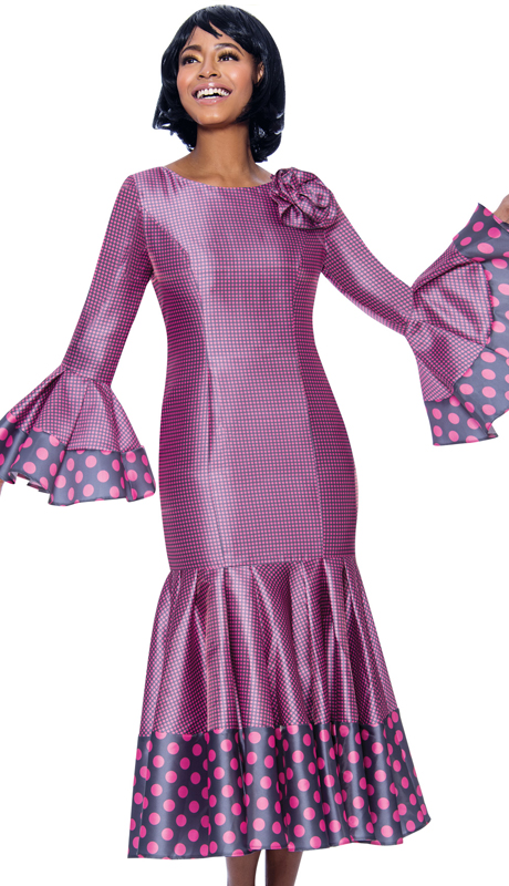 Terramina 7724-PG ( 1pc Novelty Pleated Drop Waist Dress With Polka Dot Trims And Bell Cuffs )