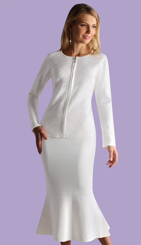 Kayla By Tally Taylor 5209-WH ( 2pc Textured Knit Suit With Rhinestone Detail )