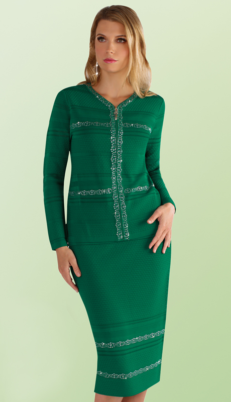 Kayla By Tally Taylor 5178-EM ( 3pc Knit Suit In Textured Knit With Rhinestone Detail  )