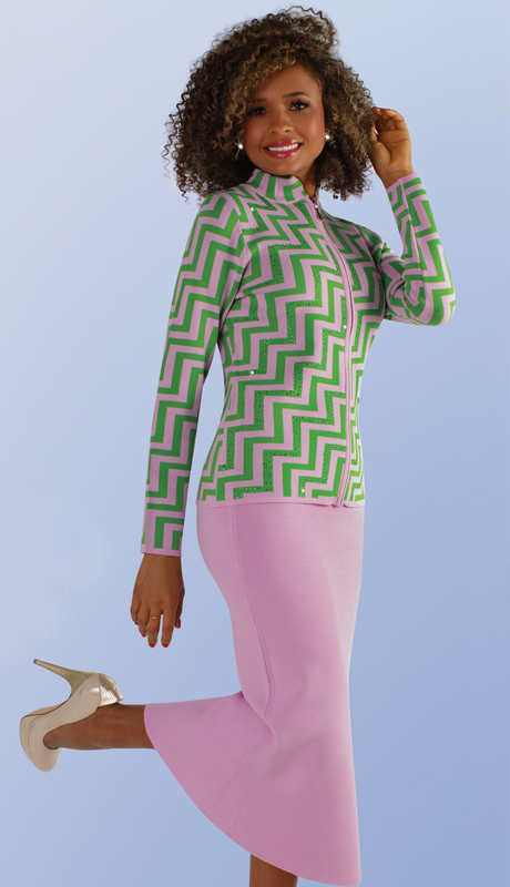 Kayla By Tally Taylor 5207-LP ( 2pc Knit Suit In Geometric Print And Rhinestone Detail With Graceful Mermaid Skirt )