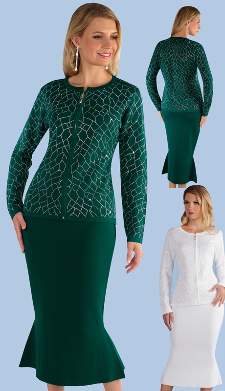 Kayla By Tally Taylor 5210 ( 2pc Knit Suit With Gorgeous Rhinestone Detail Jacket And Mermaid Skirt )
