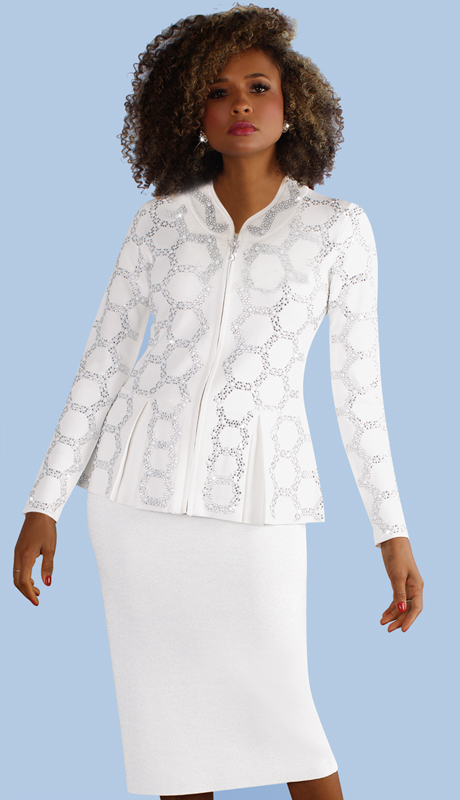 Kayla By Tally Taylor 5213-WH ( 2pc Knit Suit With Jeweled Nail Head Detail )