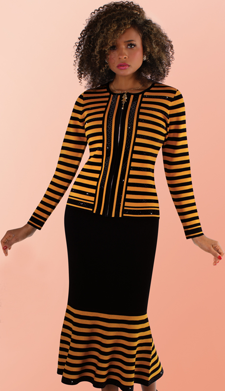 Kayla By Tally Taylor 5202-MB ( 1pc Knit Suit With Beautiful Stripes, Rhinestone Jacket And Matching Mermaid Skirt )