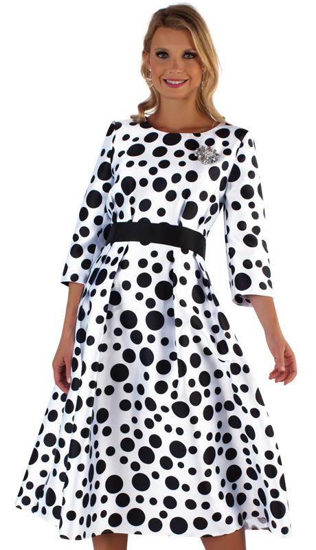 Tally Taylor 4726-WB ( 1pc Silk Polka Dot Dress With Pleats And Jewel Brooch )