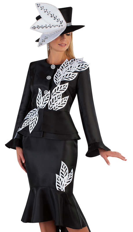 Tally Taylor 4728-BW ( 2pc Silk Church Suit With High-Low Hem And Large Leaf Trim )