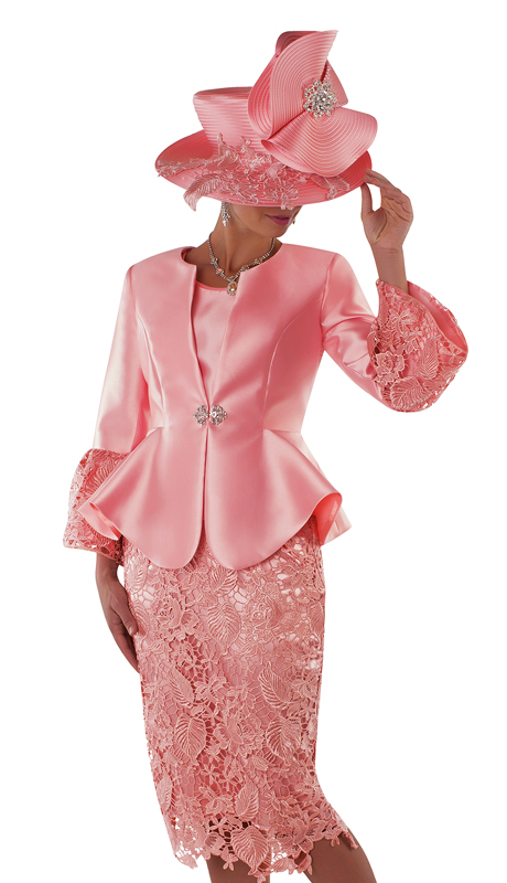 Tally Taylor 4714-LC ( 3pc Silk Suit For Church With Lace Skirt And Peplum Jacket )