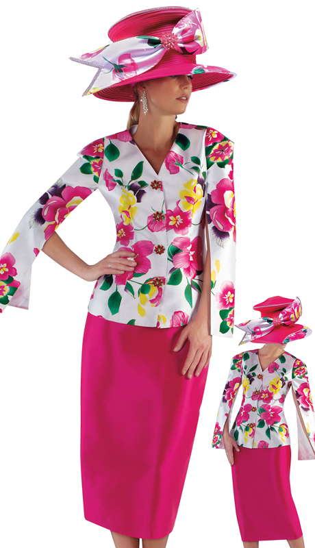 Tally Taylor 4713-PM ( 1pc Silk Womens Sunday Church Suit With Floral Print, Slit Sleeve Jacket And Solid Skirt )