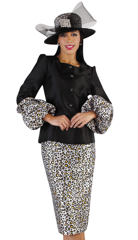 Tally Taylor 4712-BC ( 2pc Novelty Sunday Suit With Animal Print And Puff Sleeves )