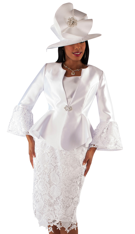 Tally Taylor 4714-WH ( 3pc Silk Suit For Church With Lace Skirt And Peplum Jacket )