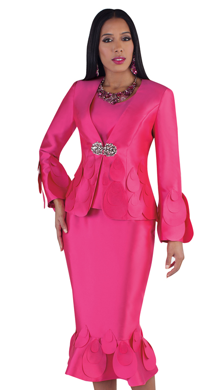 Tally Taylor 4710-HP ( 3pc Silk Church Suit With Raindrop Trim And Jewel Clasp )
