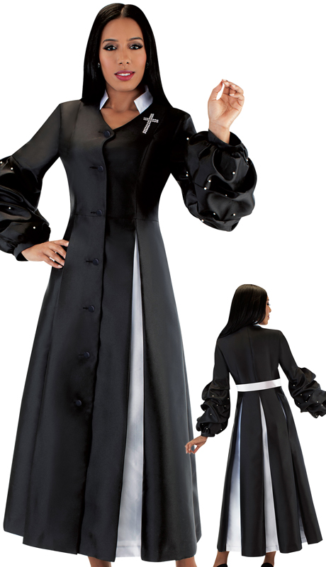 Tally Taylor 4730-BW ( 1pc Silk Button Front Church Robe With Pleats, Puff Sleeves And Jewel Cross )