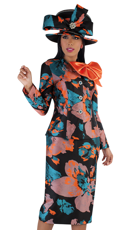 Tally Taylor4708-MU ( 2pc Novelty Floral Print Sunday Suit With Large Bow And Brooch )