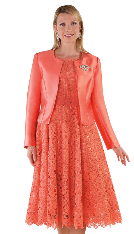 Tally Taylor 4529-SA ( 2pc Silk Womens Sunday Dress With Detachable Rhinestone Brooch Graceful Pleated Lace And Silk Jacket )