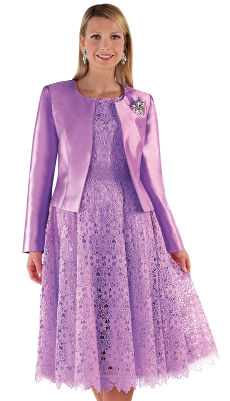 Tally Taylor 4529-LA ( 2pc Silk Womens Sunday Dress With Detachable Rhinestone Brooch Graceful Pleated Lace And Silk Jacket )