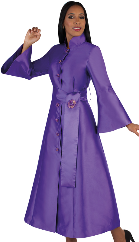 Tally Taylor 4732-PG ( 1pc Silk Button Front Church Robe With Sash-Tie Belt And Jewel Brooch)