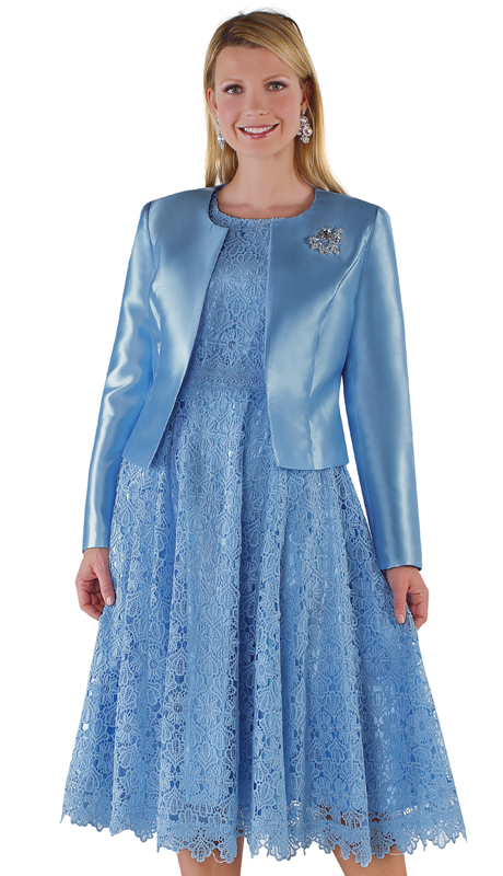 Tally Taylor 4529-BB ( 2pc Silk Womens Sunday Dress With Detachable Rhinestone Brooch Graceful Pleated Lace And Silk Jacket )