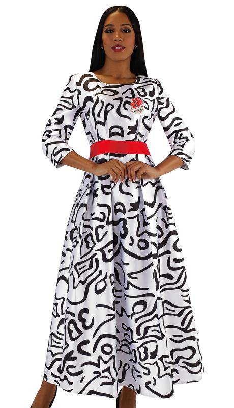 Tally Taylor 4497-RP  ( 1pc Silk Womens Church Dress With Rhinestone Brooch, Three Quarter Sleeves And Pleated Waist )