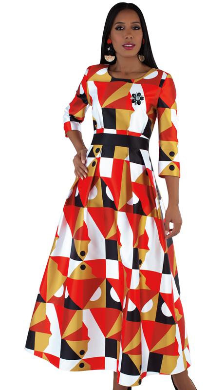 Tally Taylor 4497-OP  ( 1pc Silk Womens  Church Dress With Rhinestone Brooch, Three Quarter Sleeves And Pleated Waist )