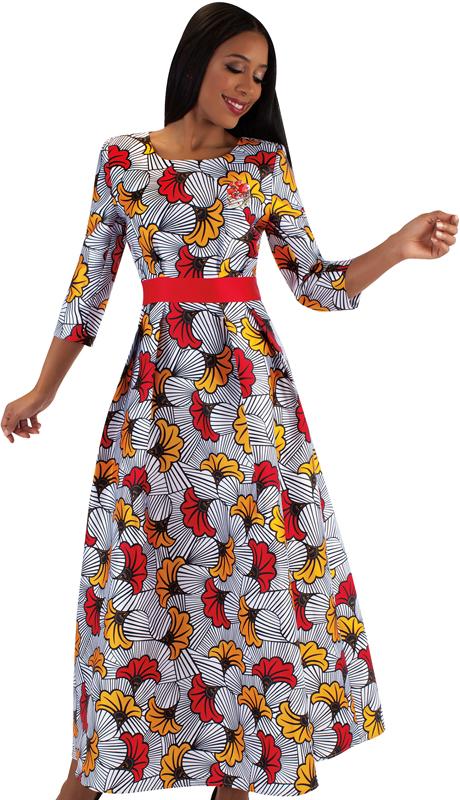 Tally Taylor 4497-RF  ( 1pc Silk Womens Church Dress With Rhinestone Brooch, Three Quarter Sleeves And Pleated Waist )