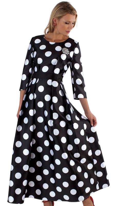Tally Taylor 4497-BW  ( 1pc Silk Womens Church Dress With Rhinestone Brooch, Three Quarter Sleeves And Pleated Waist )