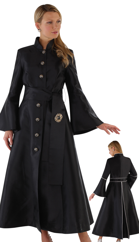 Tally Taylor 4732-BG ( 1pc Silk Button Front Church Robe With Sash-Tie Belt And Jewel Brooch)