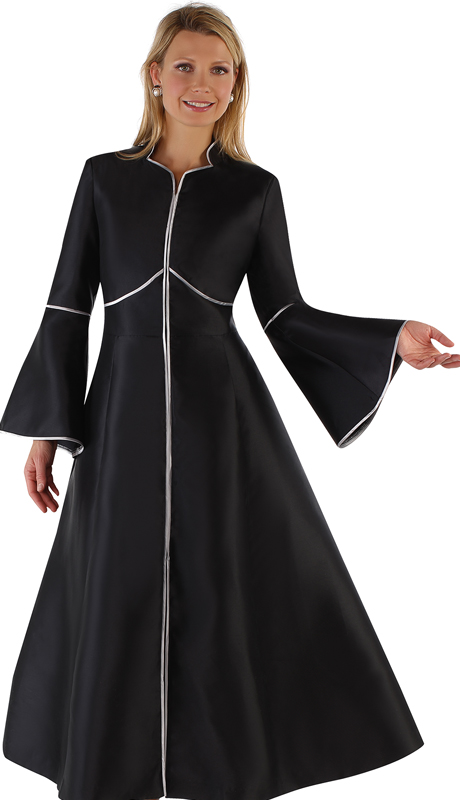 Tally Taylor 4731-BS ( 1pc Silk Zipper Front Church Robe With Back Pleat )