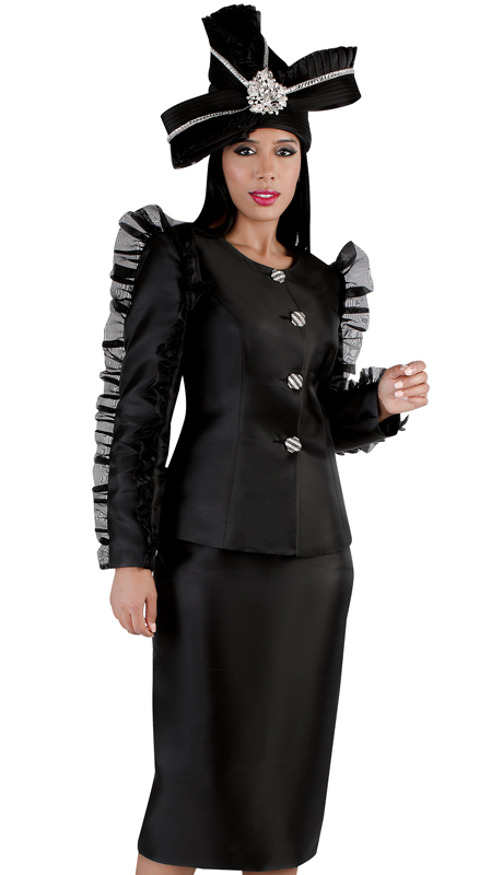 Tally Taylor 4729-BK ( 2pc First Ladies Suit With Ruched Sleeves )