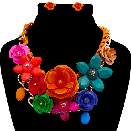 Upscale Jewelry PEN1234RNBGD ( Rose Chunky Collar Necklace And Earring Set )