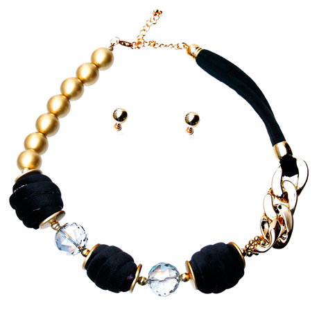 Upscale Jewelry JKN2153BLKGD ( Black Velvet Necklace Set )