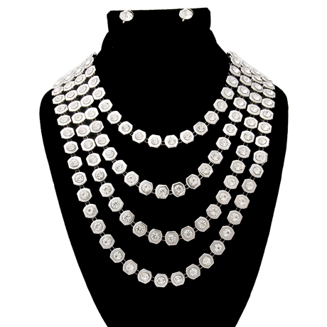 Upscale Jewelry JKN2165CLERD ( Rhinestone Multi Strand Layered Necklace Set )