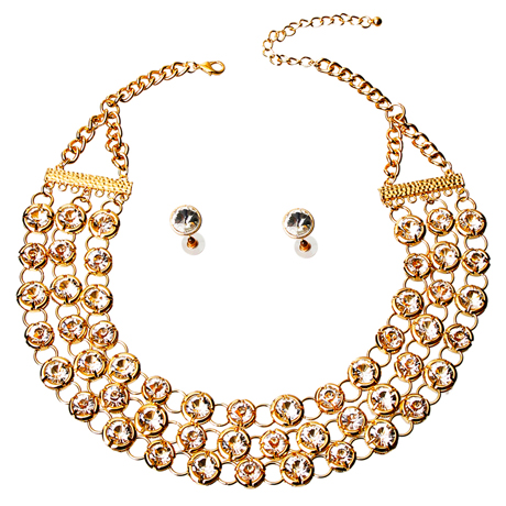 Upscale Jewelry JKN2166CLEGD ( Rhinestone Layered Necklace Set )