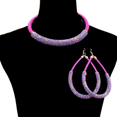 Upscale Jewelry JKN2222PURGD ( Metallic Cord And Glitter Collar Necklace With Large Teardrop Earrings )