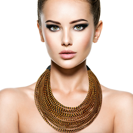 Upscale Jewelry SRN0018BLKMT ( Tribal Layered Wrapped Necklace )