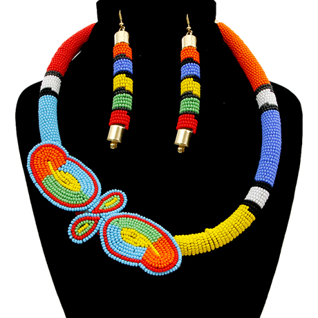 Upscale Jewelry SRN5010MLTMT ( Bead Wrapped Tribal Necklace And Earring Set )