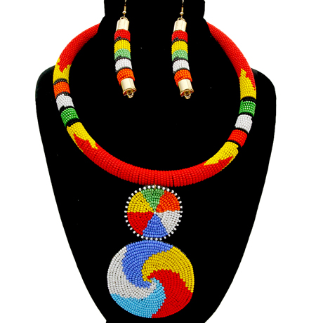 Upscale Jewelry SRN5011REDMT ( Bead Wrapped Tribal Necklace And Earring Set )