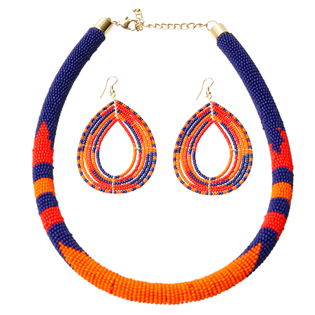 Upscale Jewelry SRN5012OABMT ( Bead Wrapped Tribal Necklace And Earring Set )