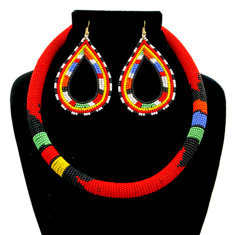 Upscale Jewelry SRN5012REDMT ( Zulu/Maasai Bead Wrapped Tribal Necklace And Earring Set )