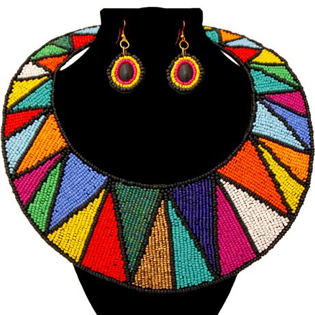 Upscale Jewelry ZFN5200MLTFL ( Beaded Round Collar Bib Necklace And Earring Set )