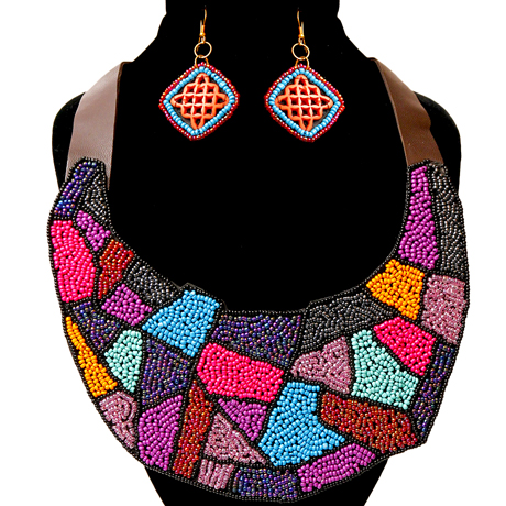 Upscale Jewelry ZFN5205PURFL ( Beaded Bib Necklace And Earring Set With Leather Neckline )