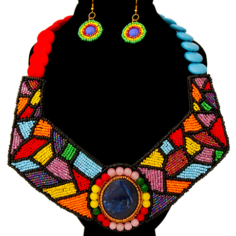Upscale Jewelry ZFN5210RNBFL ( Beaded Collar Bib Necklace And Earring Set )